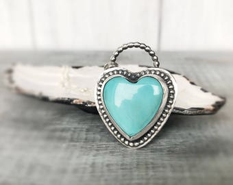 Turquoise Necklace, Sleeping Beauty Heart Necklace, Sterling Silver Necklace, Aqua Heart and Valentine's Necklace, Metalsmith Jewelry, Gift