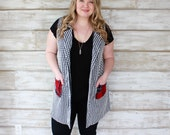 Vests for Women, Houndstooth Fabric, Long Cardigan Vest, Spring Cardigan, Plaid Vest, Plaid Fabric, Mad for Plaid, Long Vest, Heidi and Seek
