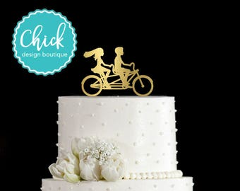 Bicycle Made for Two Tandem Bike Wedding Cake Topper Hand Painted in Metallic Paint