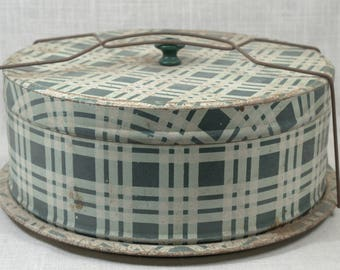 Vintage Green Plaid Cake Tin * antiques * metal * housewares * kitchenware
