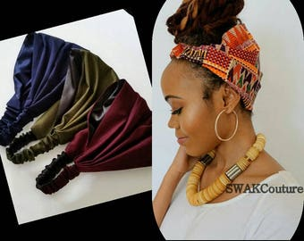 Satin Lined Wide Headband, Solid Color Pineapple Bun Wrap, Yoga Fitness Protective style head scarf - Choose Your Color