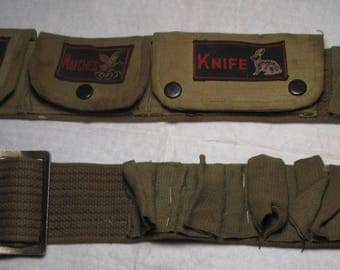 Vintage US Army Green Shotgun AMMO BELT  Compass Matches and Knife Compartments for storage military scout