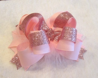 Pink Glitter Bow, Baby Headband, Glitter Over the Top Bow, Baby Pink Bows, 4 or 6 inch bow, Pageant Bows, Birthday Bows Cakesmash Bow, bday