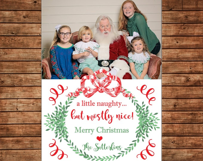 Christmas Holiday Photo Card Santa watercolor wreath red bow  - Can Personalize - Printable File or Printed Cards
