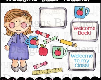 Welcome Back Teacher Clipart Collection- Immediate Download
