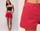 Red Jean Shorts 90s Denim Shorts High Waisted Mom Shorts 1990s Jeans Grunge Vintage Small Medium