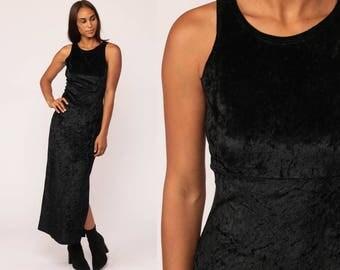 Black VELVET Dress Maxi 90s Grunge Side Slit Bodycon Sleeveless Column Crushed Party Gothic Vintage 1990s Empire Waist Goth Small