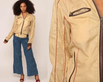 Bomber Jacket 70s Moto Jacket Nylon Windbreaker Striped Jacket Vintage 1970s Hipster Cream Tan Sports Preppy Medium