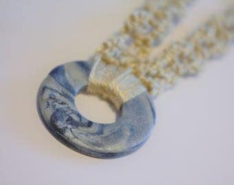 Blue and Silver Polymer Clay Crochet Necklace