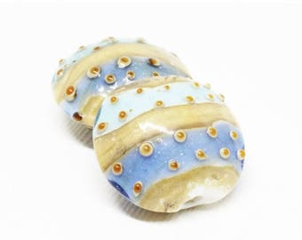 20% OFF LOOSE Glass Beads - Lampwork Glass Lentils - Spot and Stripe Periwinkle, Sea Foam, Tan, White (2 beads) - gla1157