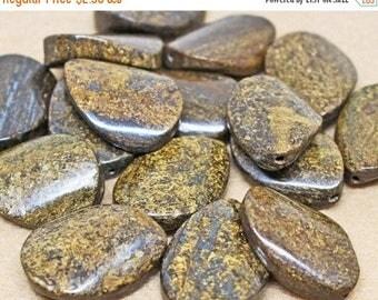 20% OFF LOOSE Gemstone Beads - Large Bronzite Twist Oval Focals - Metallic Bronze, Brown, Black (2 beads) - Gem1109
