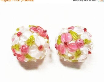 20% OFF LOOSE BEADS - Lampwork Glass Art Beads - White, Pink, and Olive Green Fancy Flower Rounds (2 beads) - gla737