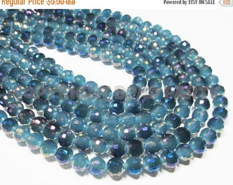 """20% OFF 7"""" Glass STRAND - Glass Crystal Beads - 8mm faceted rounds - Opaque Dark Aqua with Metallic Purple Ab (7"""" strand - 24 beads) - str94"""