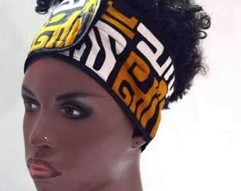 Tribal African Inspired Wrap Cap- Satin Lined-Wrapped Hair