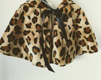 Toddler Velboa Leopard Print Hooded Capelet -12 Inch Length