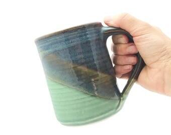 Large Handmade Mug Blue Green --  Twilight blue/ Olive green  Handthrown Stoneware Mug -- Large Blue Ceramic Green Handmade Mug