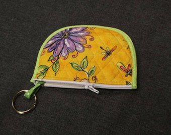 Yellow and Green Quilted Coin Purse