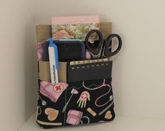 Nurse or Doctor scrubs pocket organizer,  lab coat pocket organizer - Doctor or Nurse items print - Ready to Ship