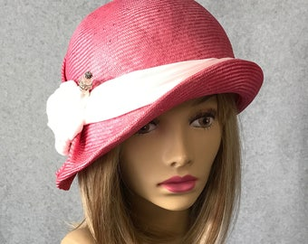 Livia, hand sculpted straw hat, women straw cloche hat, pink with silk knot and hat pin