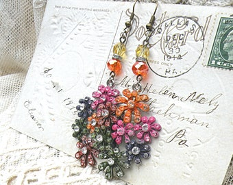 fall floral earrings assemblage rustic romance distressed paint autumn garden cottage chic sparkle mori girl
