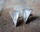 Pyramid Crystal Stud Earrings