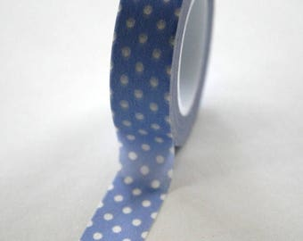 25% Off Summer Sale Washi Tape - 15mm - White Polka Dot on Periwinkle - Deco Paper Tape No. 163