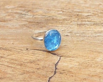 Blue Resin Ring, Ladies Sterling Silver Ring, Oval Ring, Blue Oval Ring, Resin Jewellery, UK Size N, Silver Ring, SALE