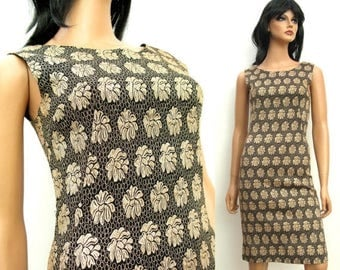 ON SALE Black Gold Cocktail Dress XXS Xs - Vintage 60s Sleeveless Wiggle Cocktail Bombshell Dress Free Us Shipping