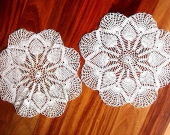 Doily Dresser Runner Scarf Crocheted White Cotton Crochet Lace ECRU Pineapple Motif Set 2