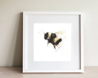 BUMBLE BEE print for you to print at home, cute original bumble bee art from original  watercolour nursery, home, office, decor insect print