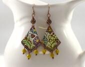 Handmade Flower Chandelier Enameled Earrings, Gold and Green Earrings, Boho  Earrings, Artisan Earrings, Copper, Long Earrings, AE017