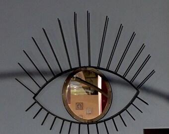 Joli et original miroir soleil oeil à accrocher déco Scandinave style vintage années  60