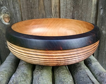 Wood Bowl - Reclaimed Cherry Wood Wooden Bowl - Wood Burned Home Decor - Hand Turned Wood Bowl