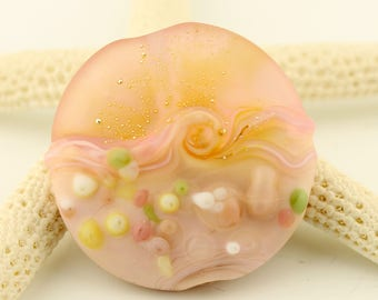 Lampwork Bead, Glass Lentil Focal, Etched Matte, Pale Pink, Green, Silver