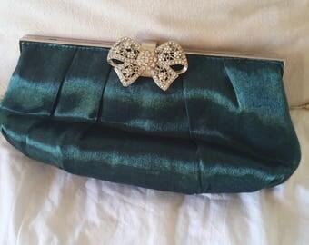 green evening bag, emerald clutch bag, BIG rhinestone clasp, clutch or shoulder bag, 2 bags in one