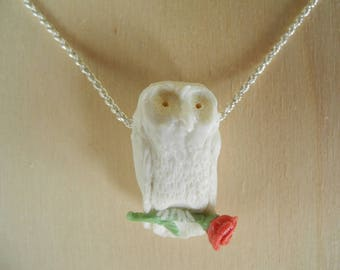 White owl with a red rose - porcelain pendant on a sterling silver rope chain - necklace with a snow owl