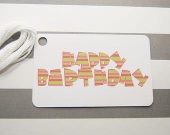 Happy Birthday Tags, Thank You Tags, Party Favor Tags, Gift Tags, Set of 8 (T14)
