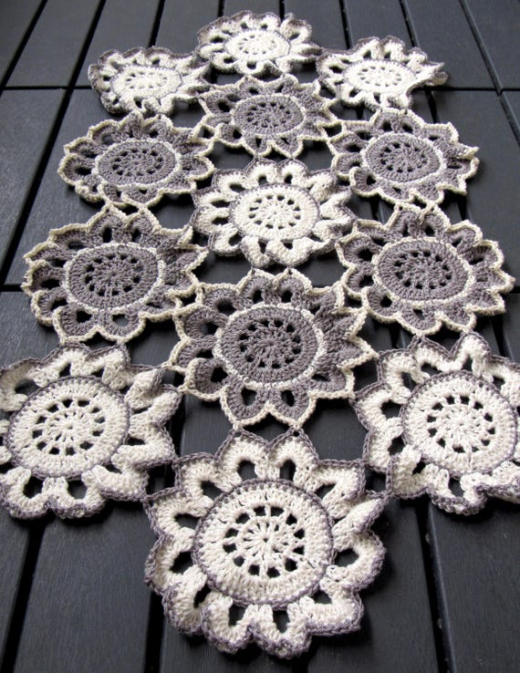 Handmade crochet Christmas flower table runner one of the kind Doily made with silver and cream color button thread 29 inches by 16 inches