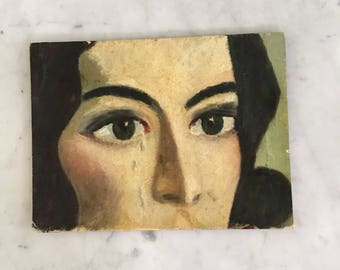 Vintage Midcentury Portrait Painting on Board Woman With Tears