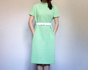 Lime Green Dress with Pockets Vintage Mod Dress 70s Dress Scooter Dress Short Sleeve Dress Retro Dress - Large to Extra Large L XL