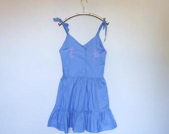 Embroidered Sundress Vintage Girls Dress Tie Shoulder Ruffle Summer Dress Simple Blue Mini Dress