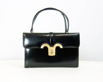 Black Gold Handbag Vintage 60s Square Rectangle Purse Classic 1960s Purse