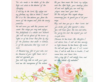 PSALM 91 Christian Home & Office Decor Bible Verse Wall Art Hand Written Calligraphy Wall Art Watercolor Roses Shelter of the Most High Sale