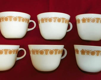 Pyrex Gold Butterfly 6 Coffee Cups, Milk Glass Coffee or Teacups, 18 available