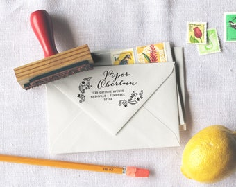 Custom Return Address Stamp // Personalized Rubber Stamp // PIPER