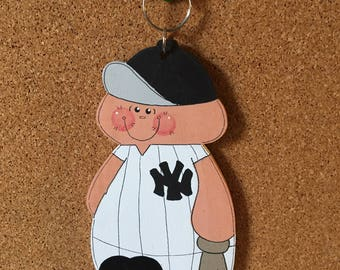 "Unique New York Yankee baseball x large keychain/ luggage tag charm/ wall hanging /Christmas ornament, unique, 5 3/4 "" tall"