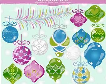 bauble clip art., blue green purple christmas ball clip art , holiday accent, Christmas Snowball, Christmas Ornaments clip art