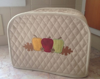 Khaki 2 Slice Toaster Cover with Fall Apples Embroidery Design Ready To Ship