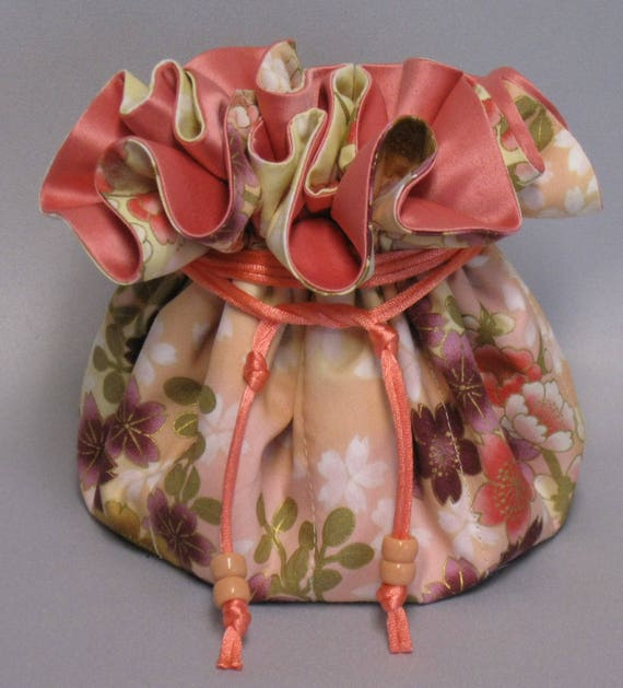 Jewelry Travel Tote---Drawstring Organizer Pouch---Coral Floral Design---Large Size