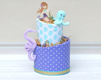 Mermaid Cake, Mermaid Shower Decor, Mermaid Baby Shower, Mermaid Centerpiece, Girl Under the Sea Shower, Purple Mermaid Shower, Aqua Purple